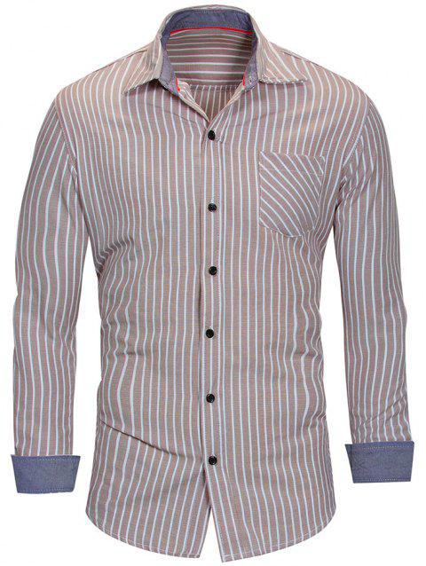 Vertical Stripe Long Sleeve Shirt - LIGHT KHAKI M