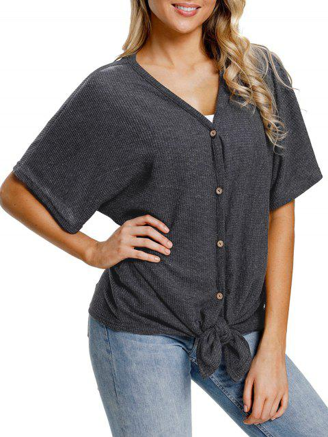 Button Up V Neck Top - DARK GRAY L