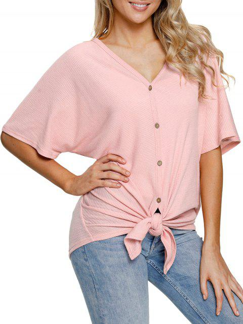 Button Up V Neck Top - PINK L