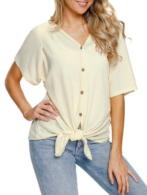 Button Up V Neck Top - BEIGE S
