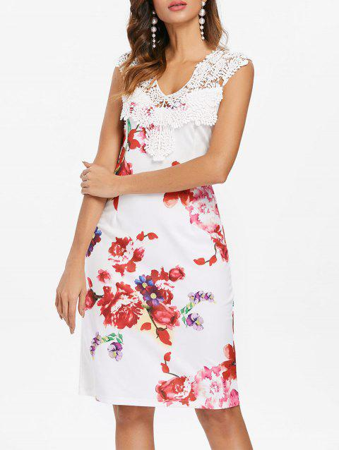 Applique Floral Print Bodycon Dress - WHITE L