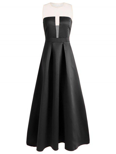 Mesh Panel Maxi Prom Dress - BLACK 2XL