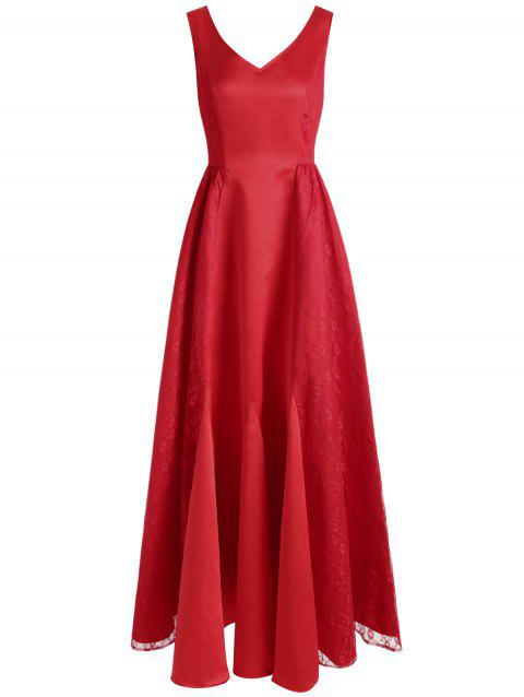 Lace Panel Maxi Formal Dress - RED L