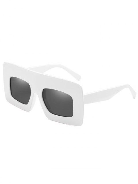 Anti UV Wide Frame Flat Lens Sunglasses - WHITE