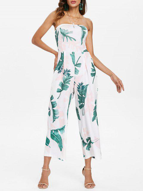 Leaf Print Wide Leg Jumpsuit - WHITE XL