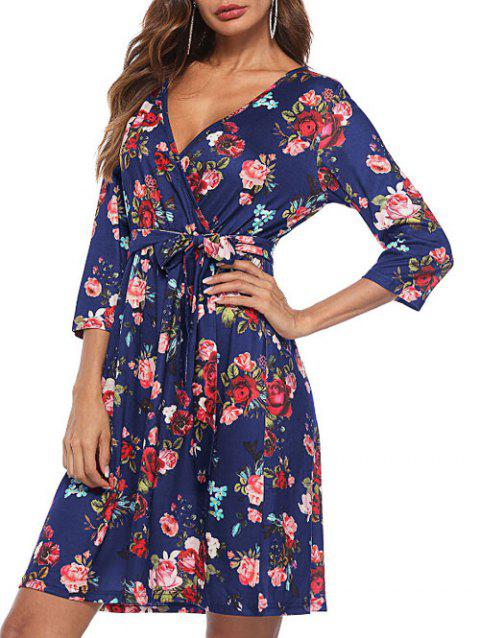 Mini-robe Florale à Encolure Plongeante - Cadetblue XL