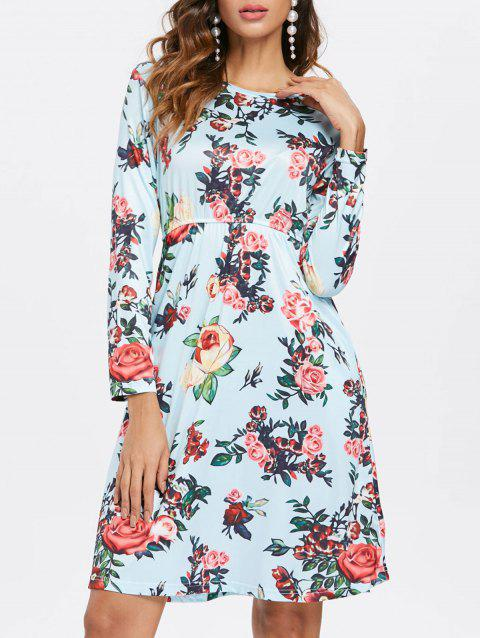 Full Sleeve High Waist Flower Dress - PALE BLUE LILY XL