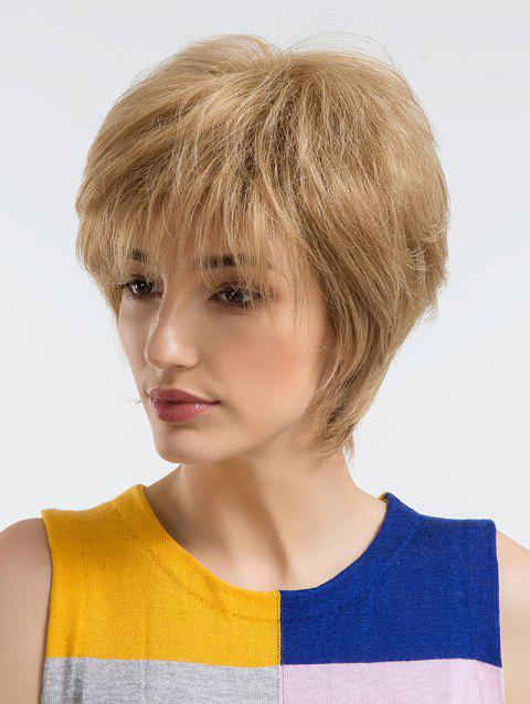 Short Incliend Bang Human Hair Straight Wig - BURLYWOOD