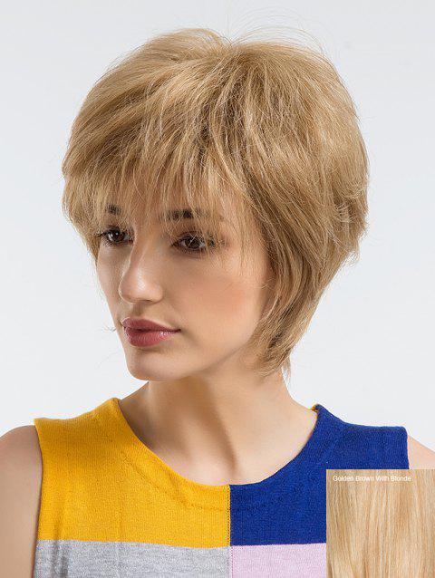 Short Incliend Bang Human Hair Straight Wig - multicolor D
