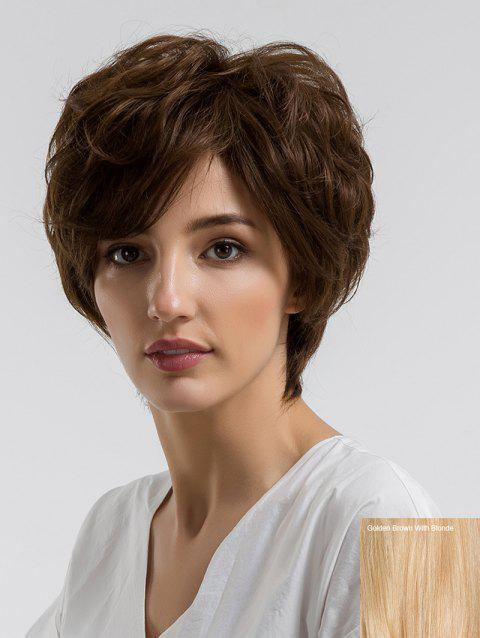Short Side Bang Layered Fluffy Slightly Curly Human Hair Wig - multicolor D