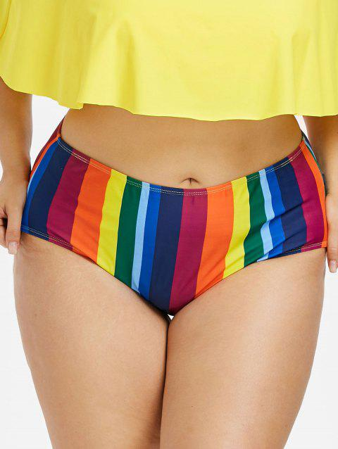Colorful Striped Plus Size Swim Bottom - multicolor 2X