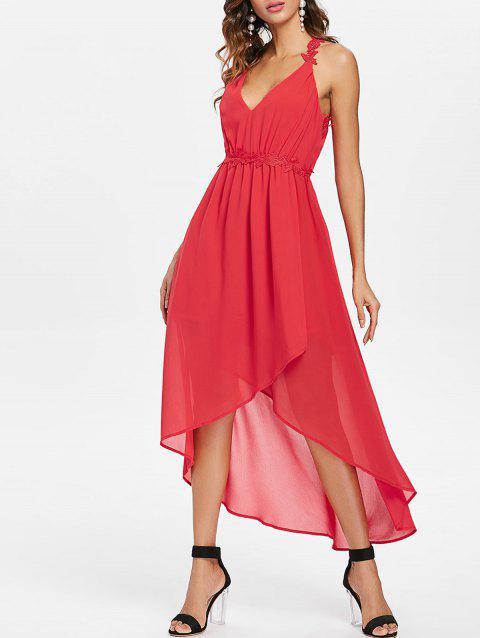 Plunging Neckline Open Back High Low Dress - RED M