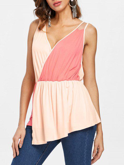 Color Block Sleeveless Surplice Top - multicolor S