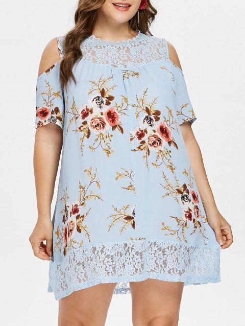 Plus Size Flower Lace Tunic Dress - DAY SKY BLUE L