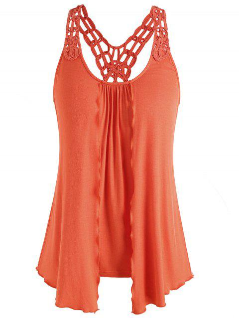 Hollow Out Crochet Racerback Tank Top - ORANGE L