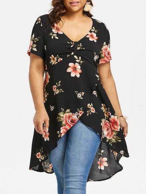 Plus Size Bow Bust High Low Blouse - BLACK 2X