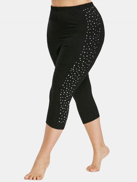 Plus Size Sparkly Capri Leggings - BLACK 4X