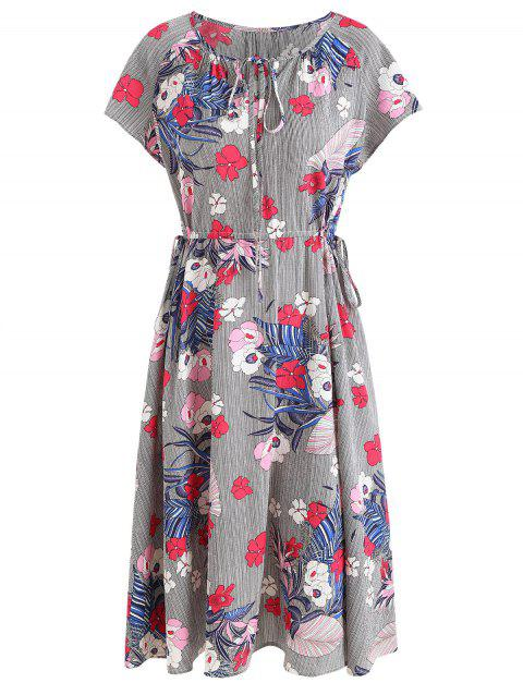 Floral Stripe Dress - multicolor XL