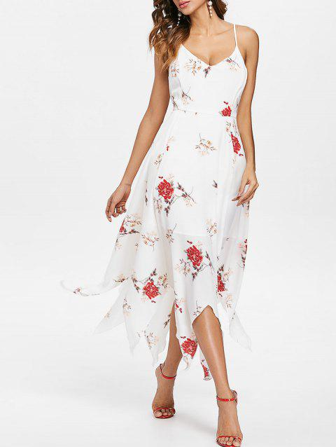 Flower Printed Asymmetrical Maxi Dress - WHITE L