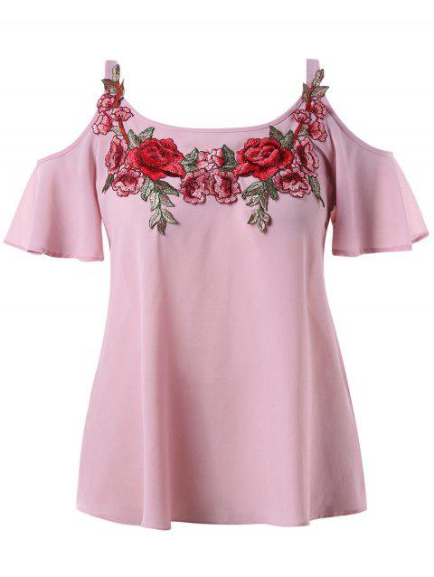 Plus Size Embroidery Open Shoulder Blouse - DEEP PINK 2X