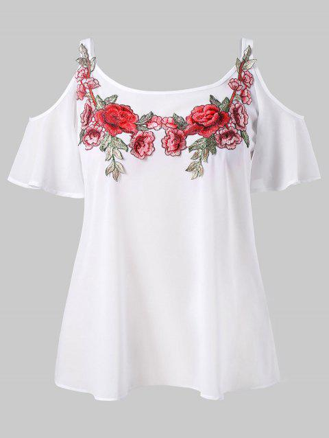 Plus Size Embroidery Open Shoulder Blouse - WHITE L