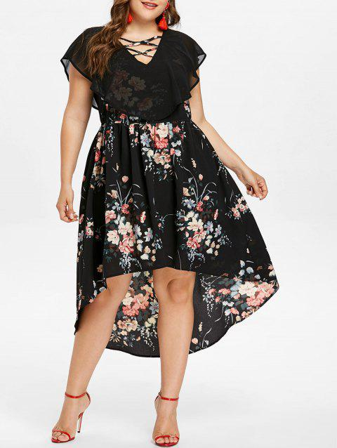 eeb030440e9 LIMITED OFFER  2019 Plus Size V Neck Floral High Low Dress In BLACK ...