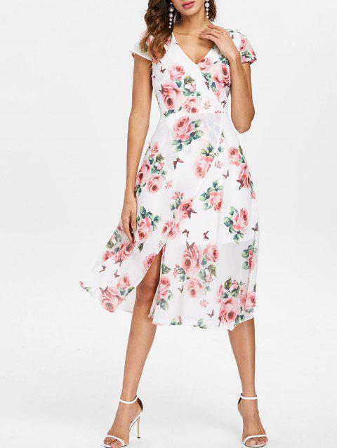 Rose Print Flowy Overlap Dress - WHITE S