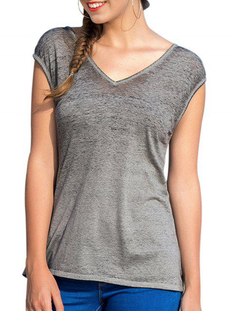 Cut Out Back Short Sleeve Basic T-shirt - GRAY L