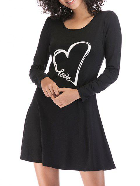 Heart Print Slim Fit Long Sleeve Dress - BLACK L