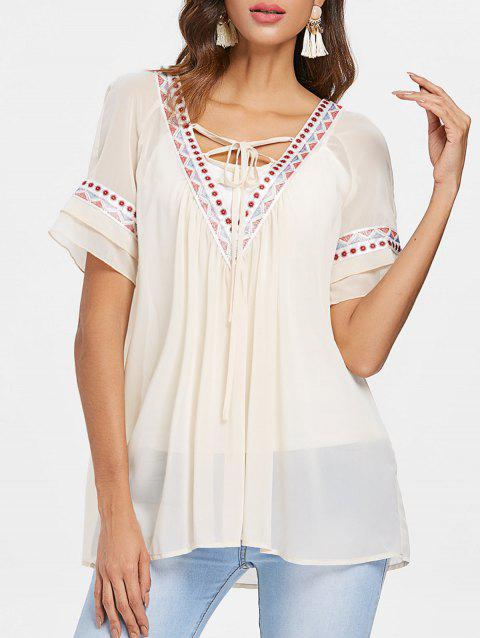 Ethnic Embroidery Tunic Chiffon Blouse - WARM WHITE 2XL
