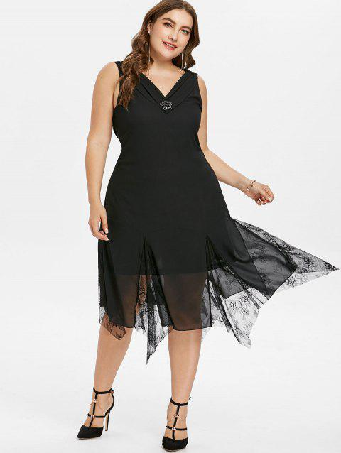 75c0cacc1f8d 87% OFF] 2019 Plus Size Lace Trim Sleeveless Flowy Dress In BLACK ...