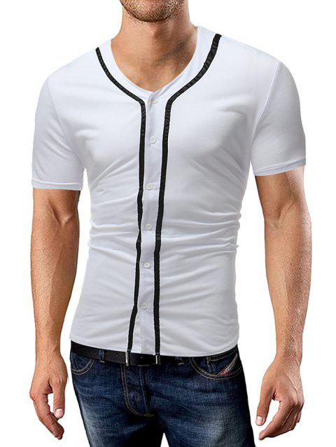 Striped Button Up Tee Shirt - WHITE L