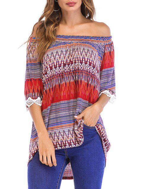 Cold Shoulder Bohemia Printed Loose Top - multicolor A L
