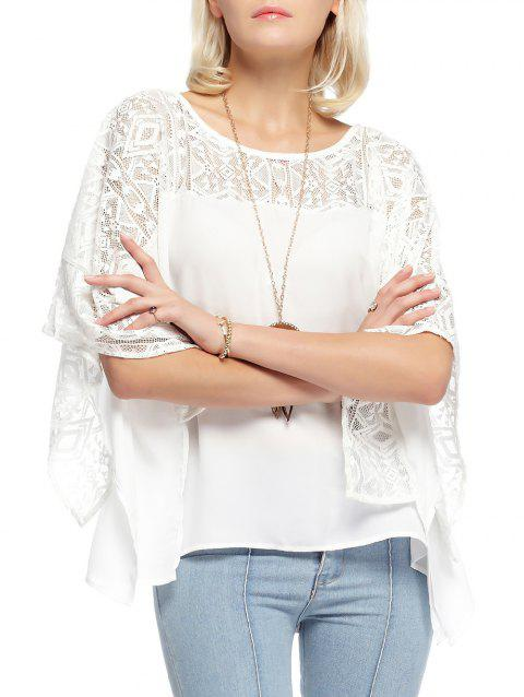 Round Neck Lace Batwing Sleeve Loose Blouse - WHITE S