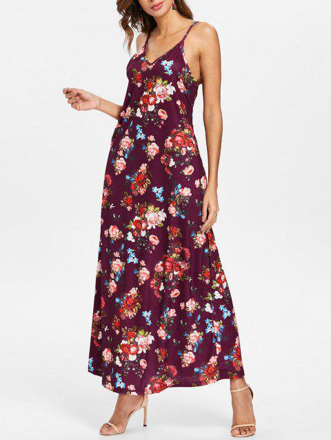Floral Print Ankle Length Dress - DULL PURPLE M