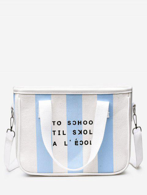 Contrasting Color Striped All Purpose Crossbody Bag - JEANS BLUE
