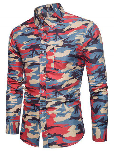 Colored Camo Print Button Down Collar Long Sleeve Shirt - multicolor M