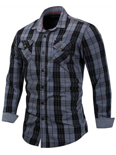 Casual Long Sleeve Plaid Shirt - SLATE GRAY M