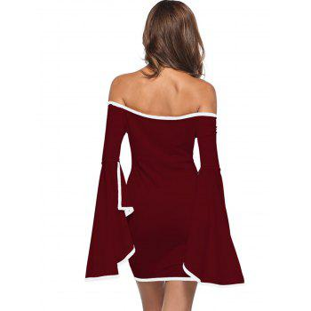 Off The Shoulder Bell Sleeve Mini Dress - RED WINE L