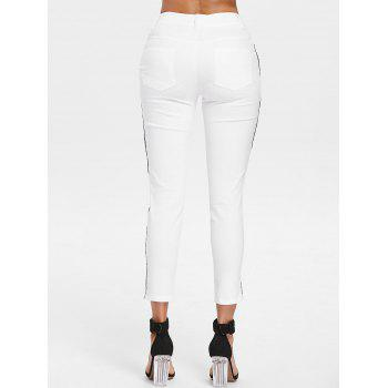 High Waist Lace Panel Pencil Pants - WHITE XL