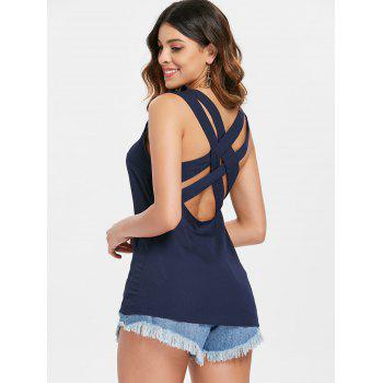 Cross Back Tank Top - DEEP BLUE XL