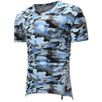 Camo Print Zipper Asymmetric Hem T-shirt - BABY BLUE XL