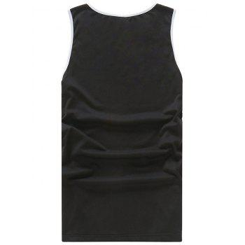 Letter 33 Print Tank Top - BLACK XL