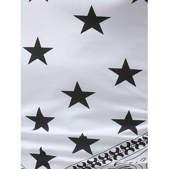 Star Print Round Neck Tank Top - WHITE 2XL