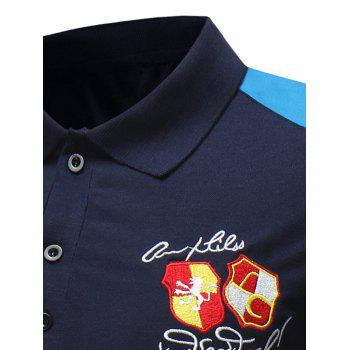 Embroidery Letter Panel Polo Collar T-shirt - NAVY BLUE XL