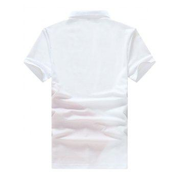 Embroidery Letter Panel Polo Collar T-shirt - WHITE M