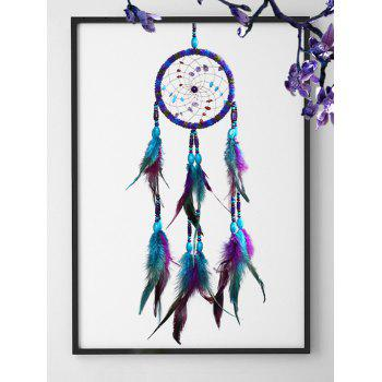 Ethnic Handmade Feather Beads Wall Dreamcatcher - multicolor