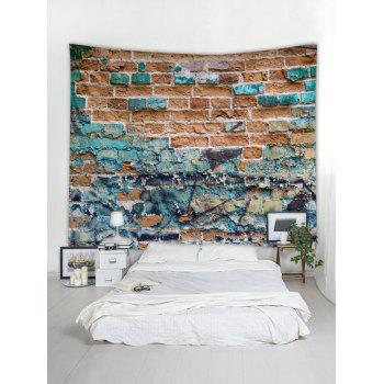 Abstract Brick Pattern Tapestry Wall Hanging Decor - COLUMBIA BLUE W91 INCH * L71 INCH