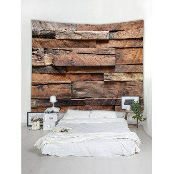 Retro Uneven Wood Palnks Wall Print Wall Decor Tapestry - BURLYWOOD W91 INCH * L71 INCH
