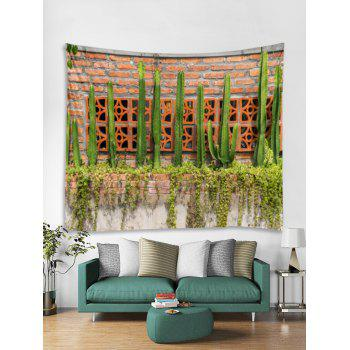 Cactus Brick Pattern Tapestry Wall Decoration - PINE GREEN W91 INCH * L71 INCH